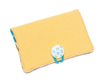 Clearance! Foundation Bifold Organic Canvas Wallet with Vintage Button Closure: {Yellow}
