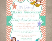 Mermaid baby shower Invite-Print your own