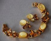 Vintage Bracelet Clip On Earrings Demi Parure Brown Yellow Rhinestones Moonglow Gold Tone Links Mad Men 1960's // Vintage Costume Jewelry