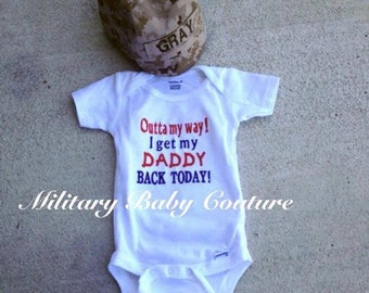 Outta my Way--Baby Boy 2 Piece Outfit--Choose Branch of Service-U.S. Marine, U.S. Navy, U.S. Army, U.S. Air Force