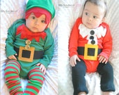 Twin Boy Christmas Holiday Elf and Santa Infant Baby Bodysuit One Piece