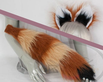 Red Panda Furry Ear and/or Tail Set Cosplay, Accessories, Costume
