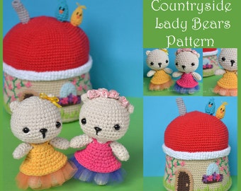 Lady Bears and Countryside House Amigurumi Pattern