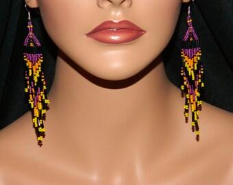 Native American Beautiful Deep Purple Dangle Beaded Earrings w/Orange and Yellow