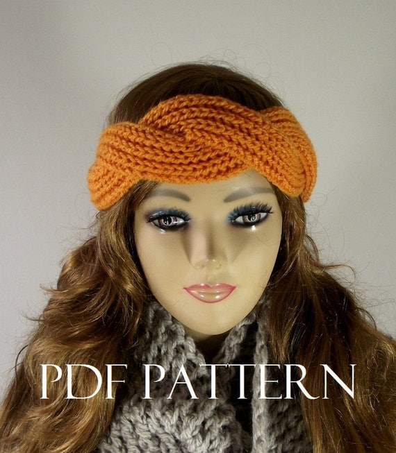 KNITTING PATTERN HEADBAND Earwarm Knit Hair Accessorie twist Headband pdf pattern