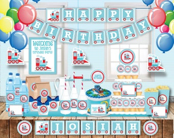 Train Birthday Party, Customized printable invitation, DIY Party Decoration, matches Thomas the train, blue and red