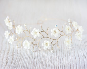 51_Ivory flower crown, Bridal tiara, wedding tiara, Gold tiara, Crystals headpiece, headband, bridal hair accessories, pearls, Gold headband