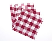 Small Burgundy Red and White Gingham Cloth Lunch Box Napkins - Cocktail Napkins - Buffalo Check - Set of 4
