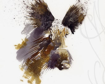 """Martinefa's Original watercolor and Ink, presented in hand personalised frame - Boar """"Sanglier"""""""