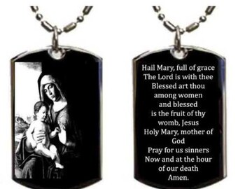 Hail Mary Prayer Engraved Pendant Necklace Personalized with Your Name. Etched Pendant  Engraved New