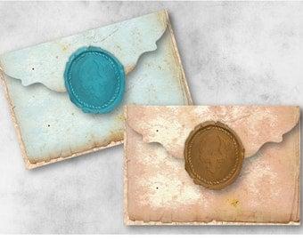 Digital Collage Sheet Download - Wax Seal Vintage Envelopes -  938  - Digital Paper - Instant Download Printables