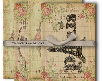 Digital Collage Sheet Download - Shabby Chic Paris Papers -  1040  - Digital Paper - Instant Download Printables