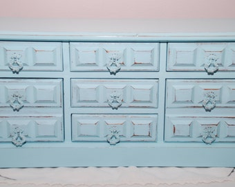 Large Vintage Distressed Wooden Musical Price Jewelry Chest  Angelic Blue Shabby Chic Cottage Chic