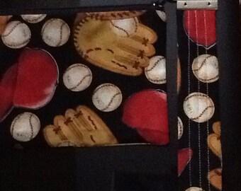 Baseball mom wristlet keychain zip pouch
