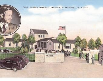 Vintage Linen Postcard....Will Rogers Museum, Claremore, Okla.....Unused...no. 1489