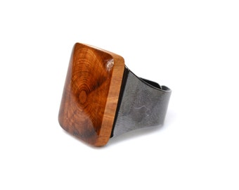 Square wood statement Ring wooden ring reclaimed wood statement ring Starlight Woods wood ring eco friendly