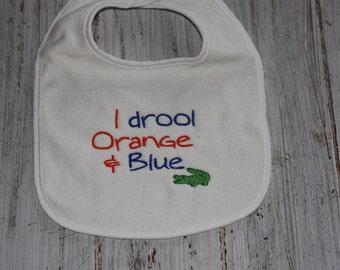 I Drool Orange & Blue Bib