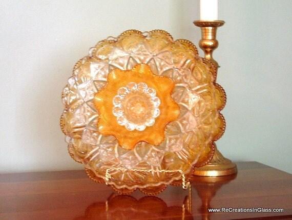 Garden art. Garden glass flower or candle holder. Assembled art piece made with repurposed glass. Hostess gift.
