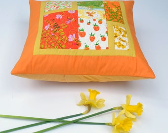 Orange Pillow, Modern Pillow, Briar Rose, Quilted Pillow Cover, 16 x16, Bees