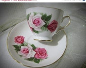 20% Off Sale 1962 Royal Vale Tea Cup & Saucer Pink White Rose #8138 Ridgway Bone China