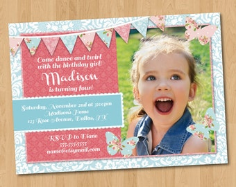Floral/ Fairy/ Butterfly Birthday Party Photo Invitation Digital Printable, Any Color any wording any age