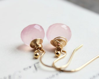 clarissa. earrings. (soft rose pink chalcedony. onion briolette gemstone. 14k gold. jewelry. made to order)