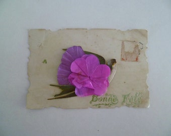 Antique Die Cut Postcard Very Shabby Lovely French Message to a dear friend