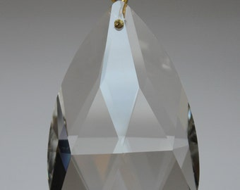 Pack of 5 Clear Chandelier Teardrop Crystal 50mm Brass/Gold Pinning