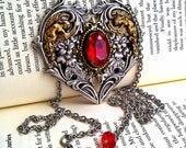 Gothic Heart Necklace Swarovski Siam Red Necklace Crystal Necklace Goth Necklace Gothic Jewelry Victorian Jewelry