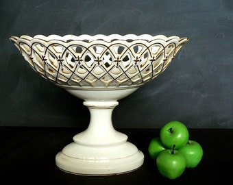 Antique French fruit bowl ,1800s large centerpiece,  antique dish