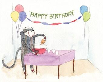 Naughty Monkey Birthday Card