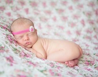 Pearl Rose Gem Headband - Hadley Headband - YOU CHOOSE colors - Newborn Baby Girl Headband
