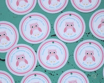 SWEET OWL Theme Birthday or Baby Shower Favor Tags or Stickers Set of 12 {One Dozen}