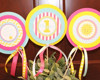 LITTLE MISS SUNSHINE Birthday or Baby Shower  3 Piece Centerpiece - Party Packs Available