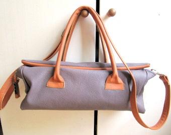 Bag Mauve Lilac Brown Grey Purple Leather Handbag/ Pouch Purse/ Shoulder Bag/ Lined/  Cow leather, lined, adjustable strap, pockets inside.