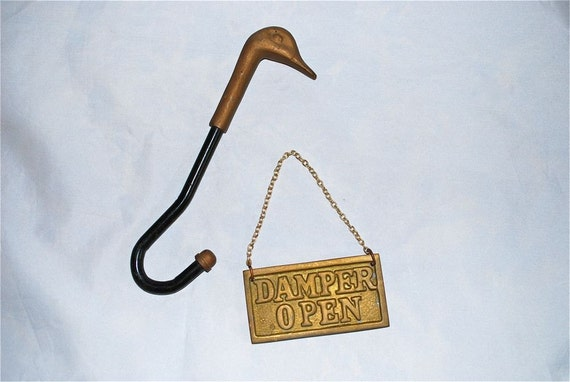 Duck Head Damper Hook And Open Close Sign Vintage