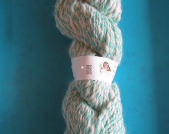Hand spun  merino and angelina yarn - green and white - Sport weight/dk