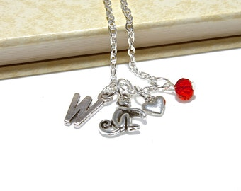 Personalized Monkey Necklace with Your Initial and Birthstone