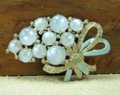 Vintage Coro Fur, Scarf or Hat Clip Ice Blue Cabocons with Rhinestones