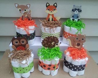 6 Woodland theme mini diaper cakes, baby shower centerpiece