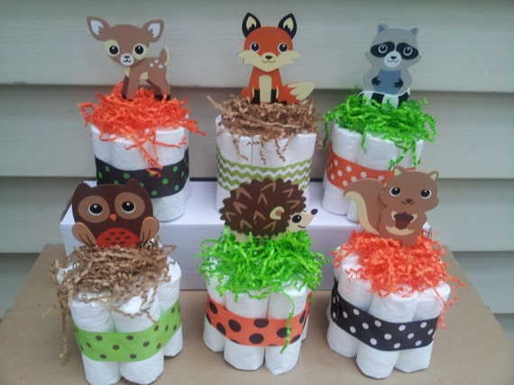 Animal Diaper Cake Centerpieces
