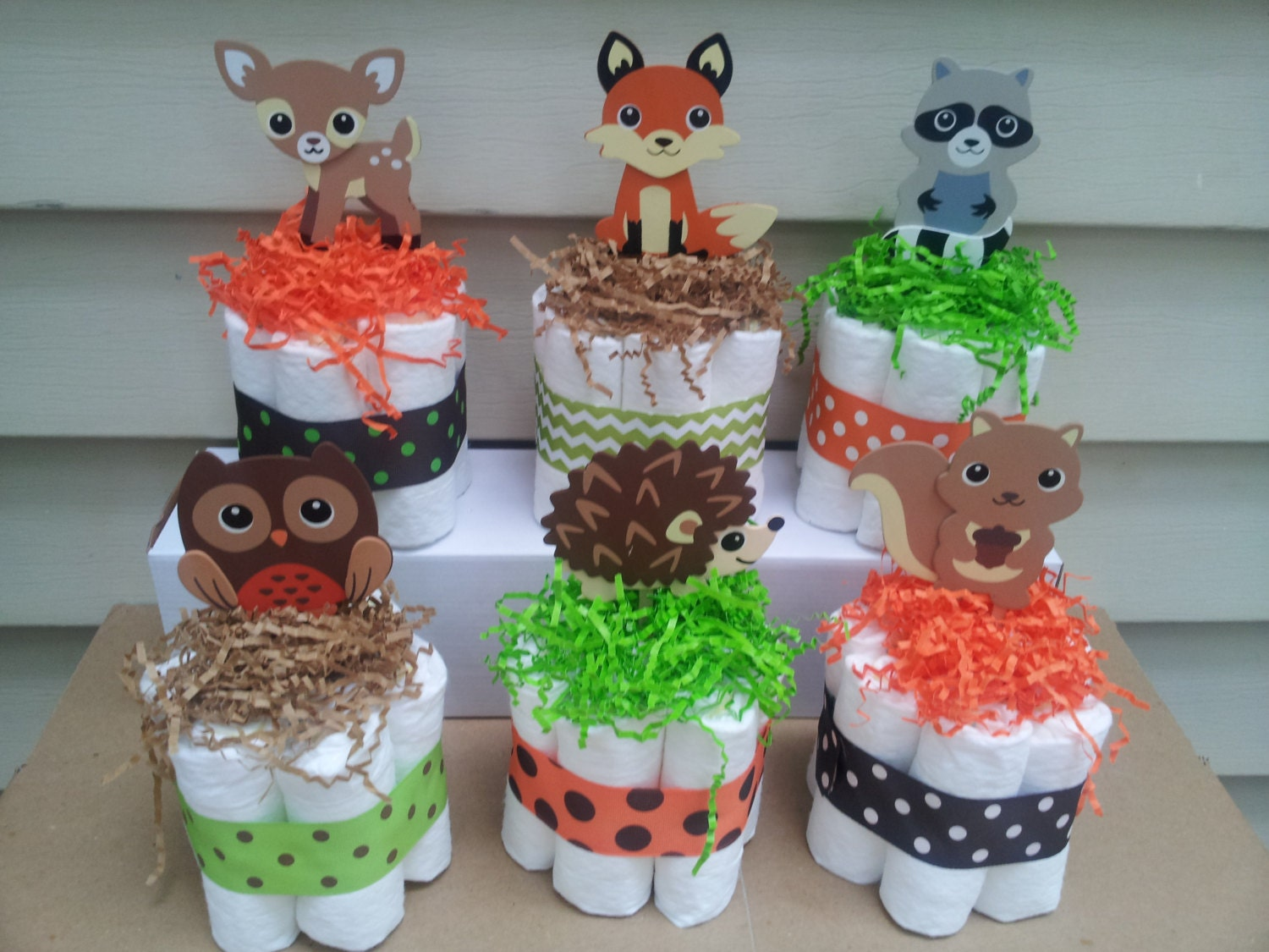 woodland theme mini diaper cakes baby shower centerpiece