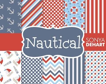 Nautical Digital Papers, Nautical Patterns, Nautical Backgrounds, Scrapbook Paper, Nautical Scrapbook, Scrapbook Page