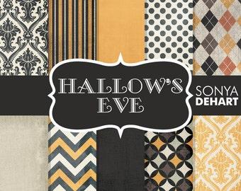 80% OFF Sale Halloween Papers, Scrapbook Halloween, Vintage Halloween, Halloween Chevron, Orange Black Papers, Damask Halloween