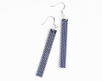 Statement earrings - Circuit board earrings - geekery - Dark Blue dotted earrings - recycled computer