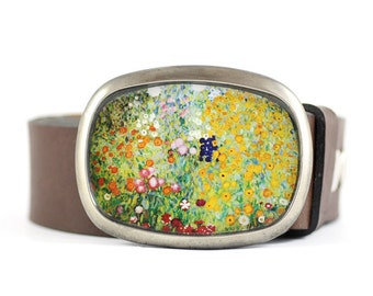 Klimt belt buckle, Flower garden Belt Buckle, Wearable Art Belt Buckle