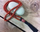 108 Bead Meditation Mala, Red Jasper Gemstone, Black Tassel, Japa Mala