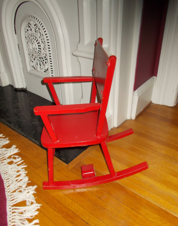 Child Red Rocking Chair ~ Vintage child s red rocking chair musical rocker swiss
