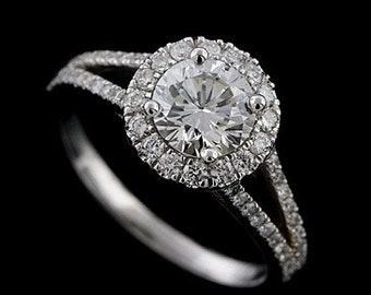 Diamond Halo Split Shank Engagement Ring, Round Forever One Moissanite Ring, Cut Down Micro Pave Ring, Modern Classic Style Platinum Ring