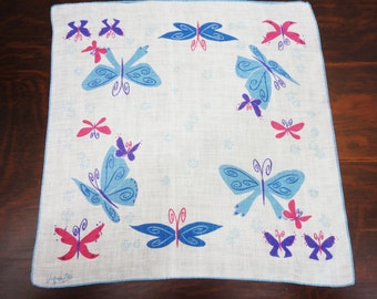 Vintage Virginia Zito Handkerchief Mod Butterflies - Pink Blue Purple - Hand Rolled Linen